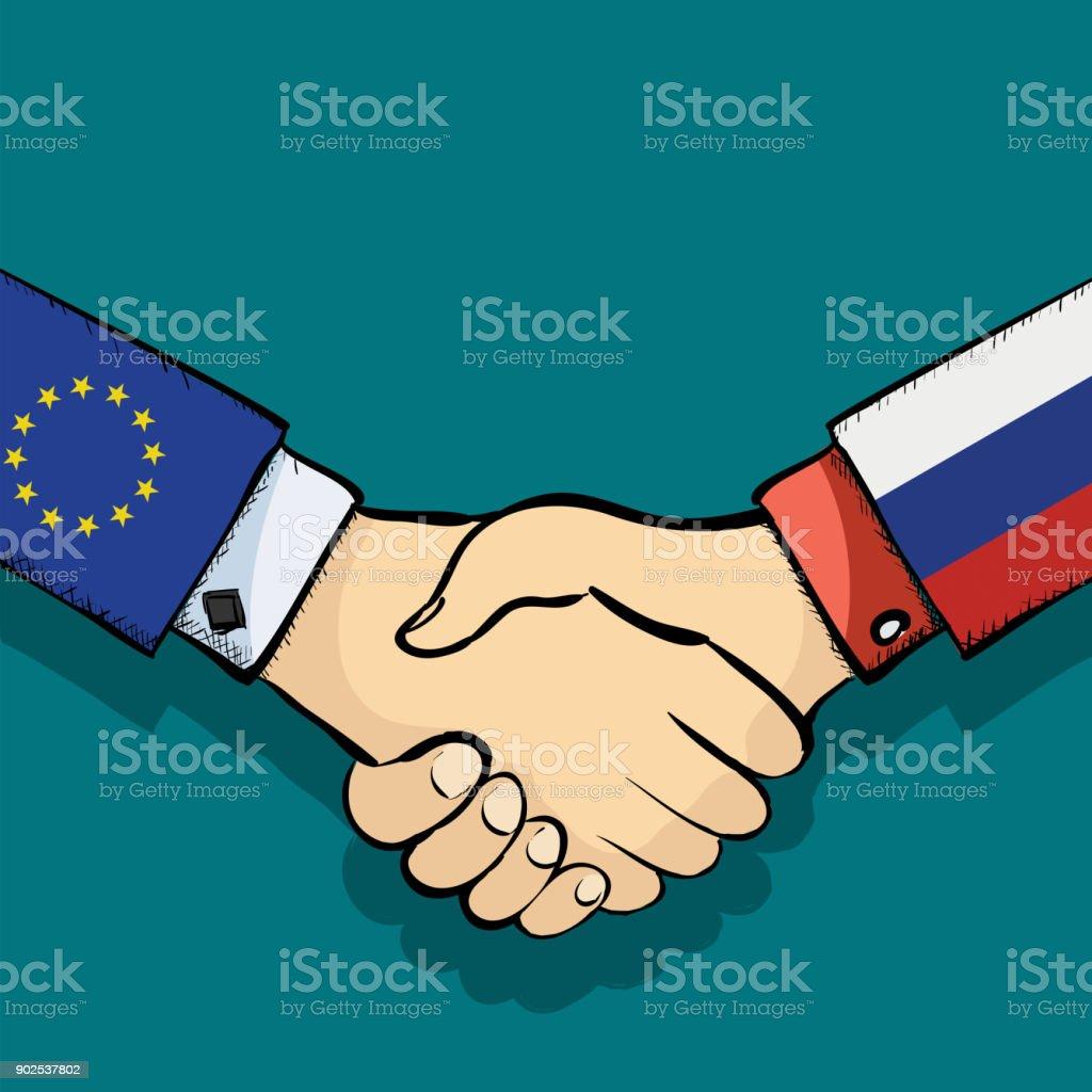Handshake of two people vector art illustration