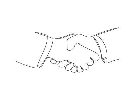 Handshake One line drawing Vector handshake in line style on white background