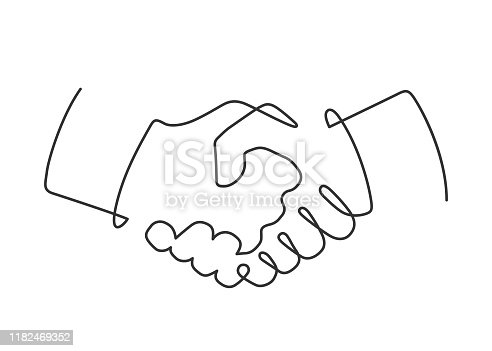 Continuous line drawing of handshake on white background. Vector illustration