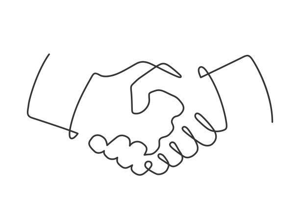 handshake one line Continuous line drawing of handshake on white background. Vector illustration continuity stock illustrations
