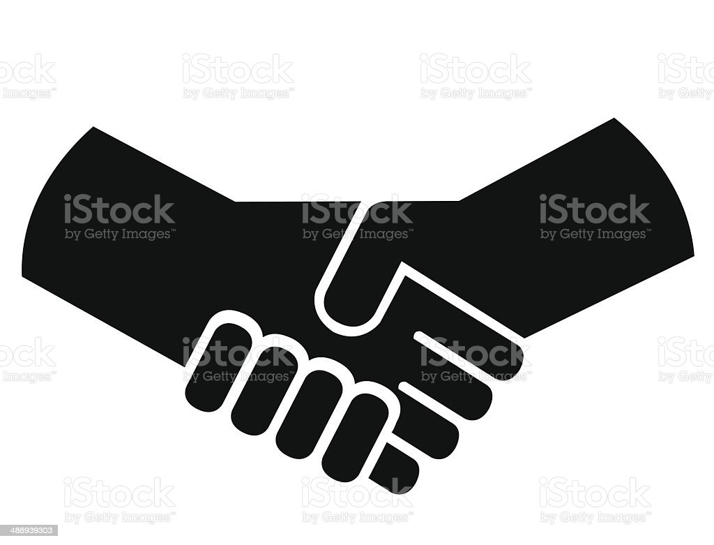 Handshake or shaking hands vector art illustration