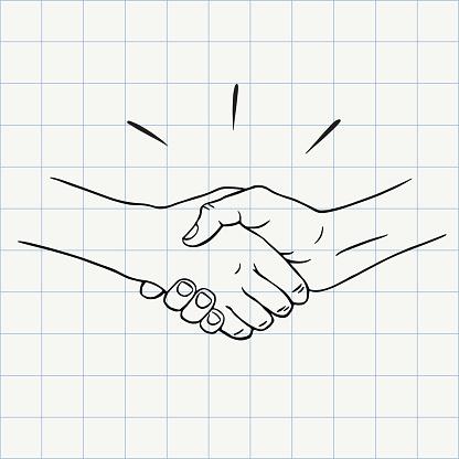 Handshake outline doodle icon