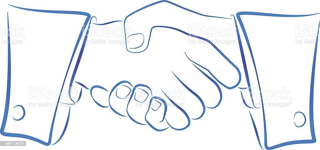 Handshake Outline royalty-free stock vector art