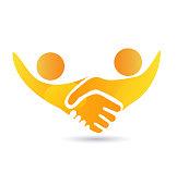 Handshake teamwork people union icon vector template