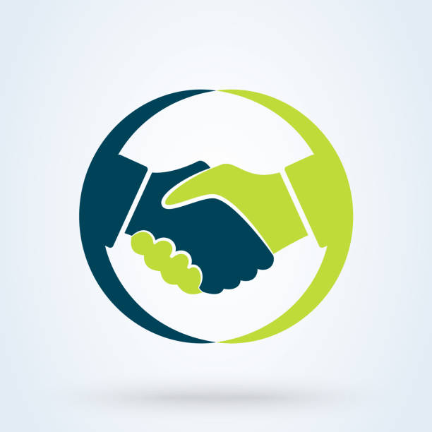 ilustrações de stock, clip art, desenhos animados e ícones de handshake sign in the circle, on white background. vector illustration - hand shake