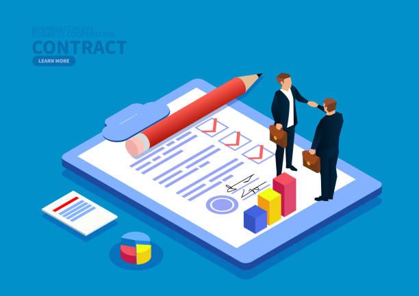 Handshake-Unterzeichnungsvertrag – Vektorgrafik