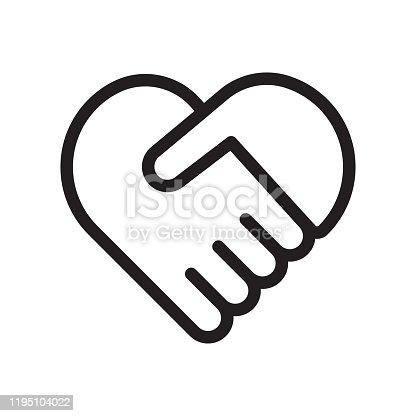 istock Handshake symbol forming a heart 1195104022