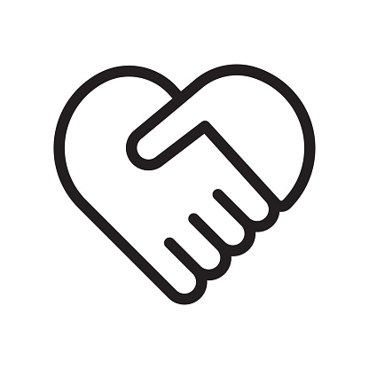 Handshake symbol forming a heart
