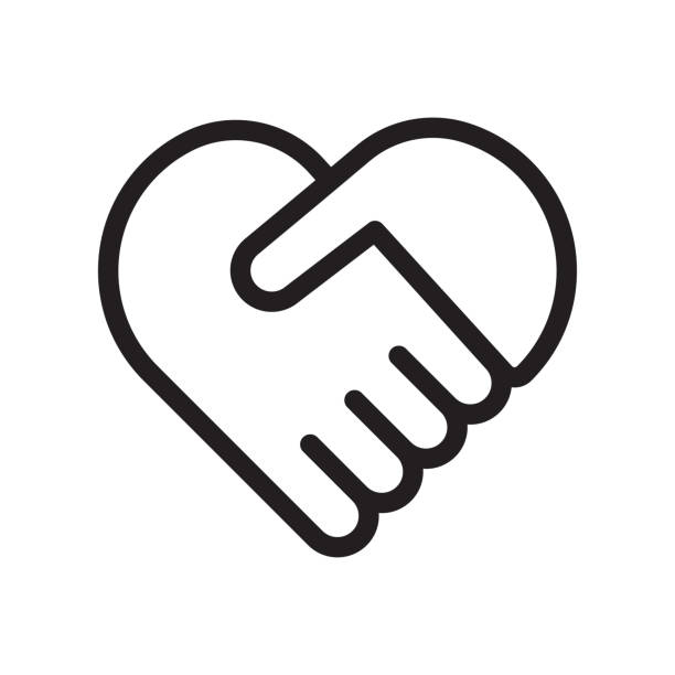 Handshake symbol forming a heart Handshake heart icon. Cooperation and teamwork, love and relationship. Handshake symbol forming a heart. Vector Isolate on white background. couple stock illustrations