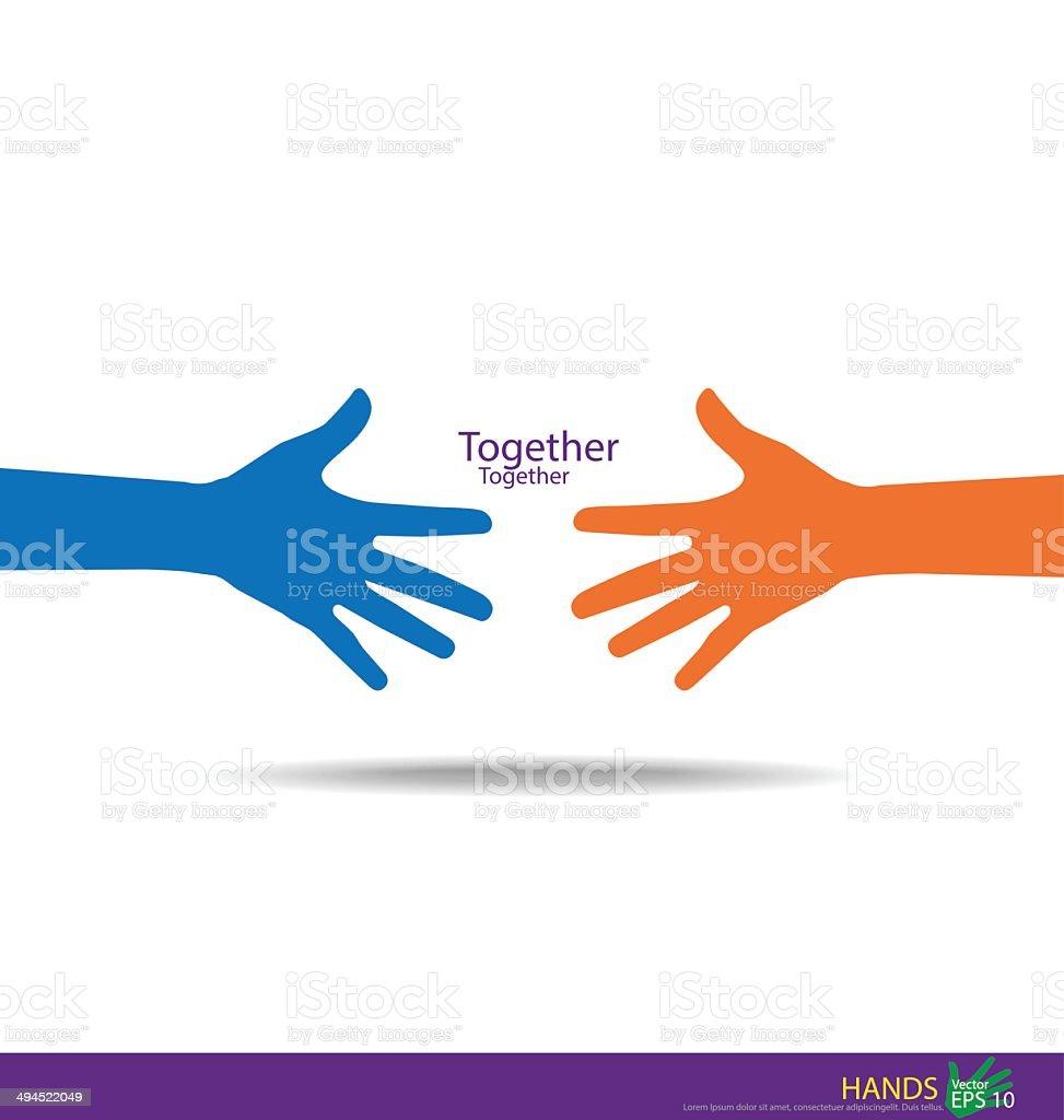 Handshake, Teamwork Hands Logo. Vector illustration. vector art illustration