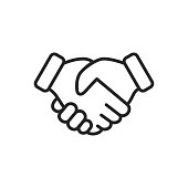 Handshake Outline Icon.