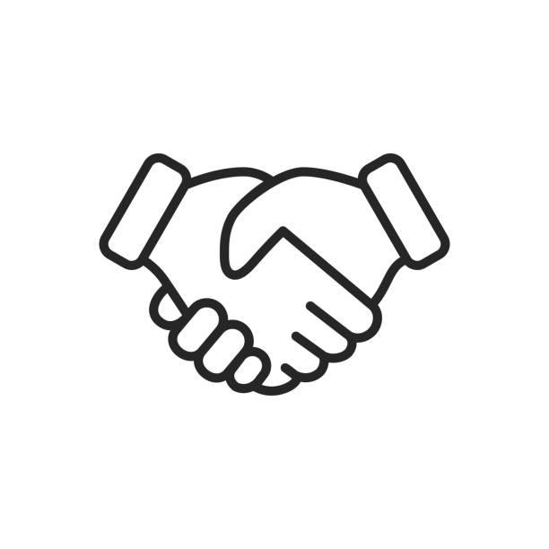 illustrations, cliparts, dessins animés et icônes de poignée de main fine ligne vecteur icône. contour modifiable. pixel parfait. pour mobile et web. - se saluer