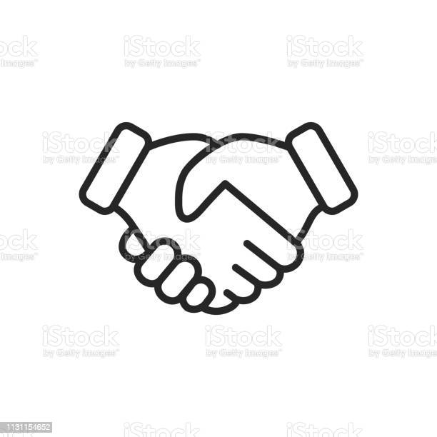 Handshake Thin Line Vector Icon Editable Stroke Pixel Perfect For Mobile And Web Stock Illustration - Download Image Now