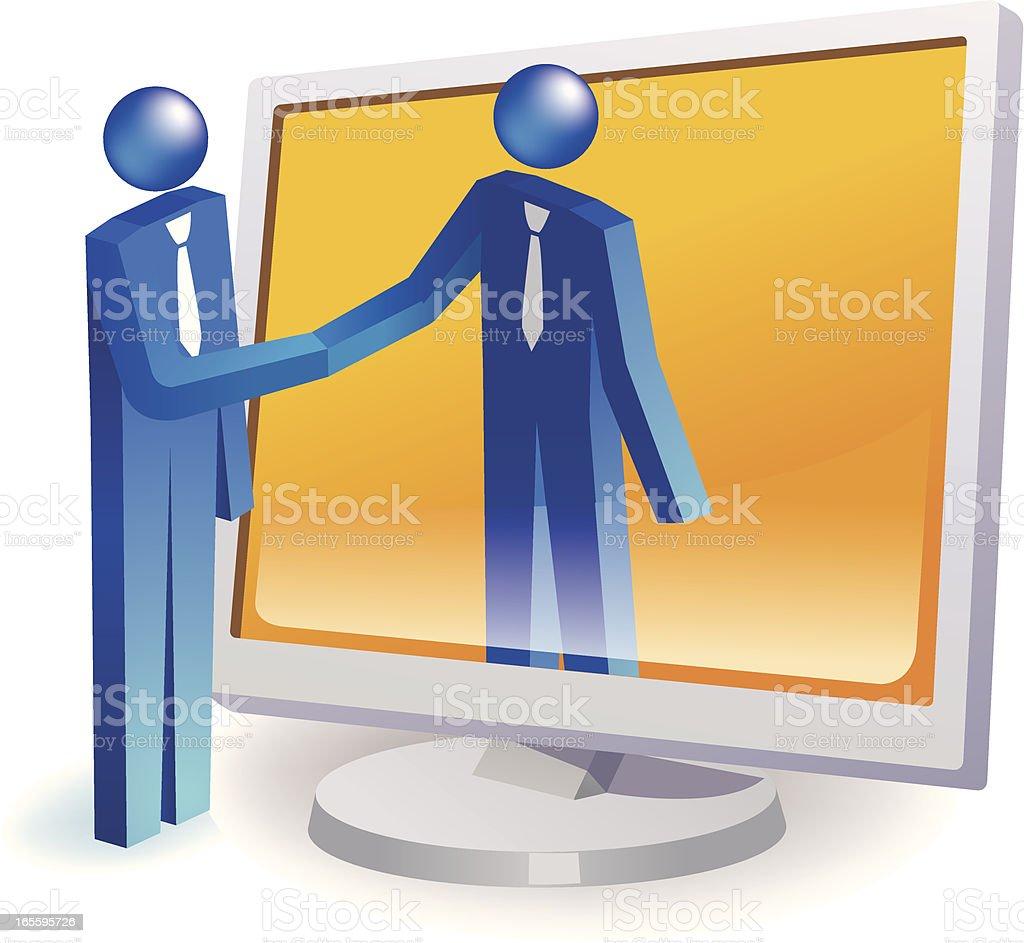 Handshake through internet royalty-free stock vector art