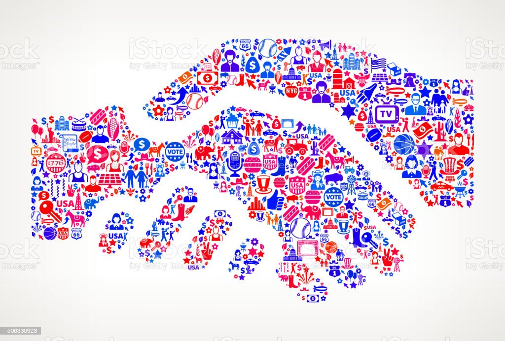 Handshake US royalty free vector art Pattern vector art illustration