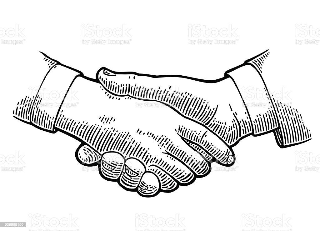 Handshake. Vector black vintage engraving vector art illustration