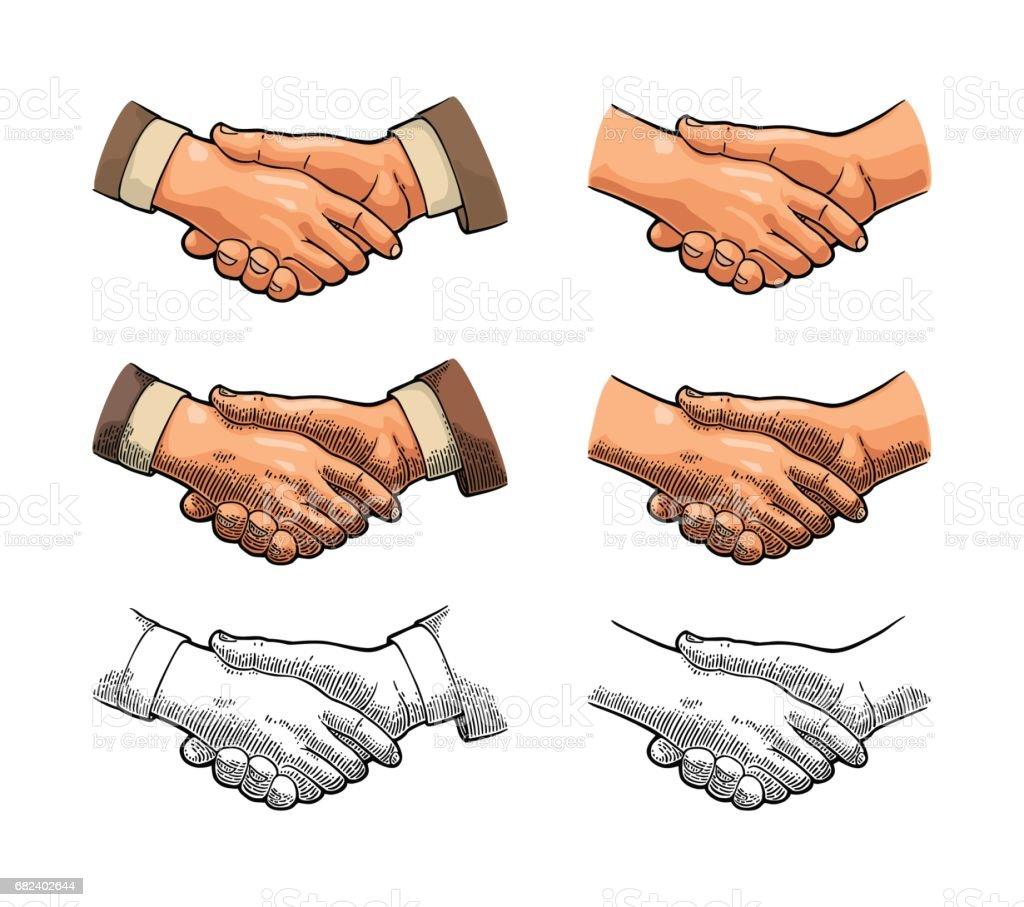 Handshake. Vector color vintage engraving royalty-free handshake vector color vintage engraving stock vector art & more images of adult
