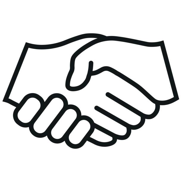 ilustrações de stock, clip art, desenhos animados e ícones de handshake vector icon. black illustration isolated for graphic and web design. - hand shake
