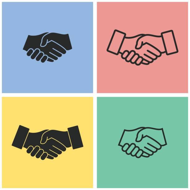 handshake - vektor icon. - autorität stock-grafiken, -clipart, -cartoons und -symbole