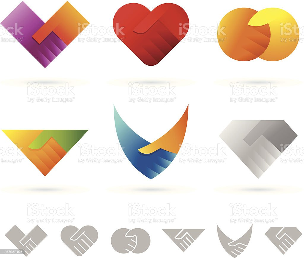 Handshake (icon set 1) vector art illustration