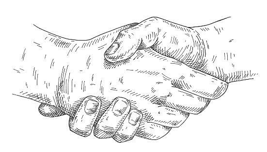 Handshake. Vintage vector monochrome hatching illustration isolated on a white background.