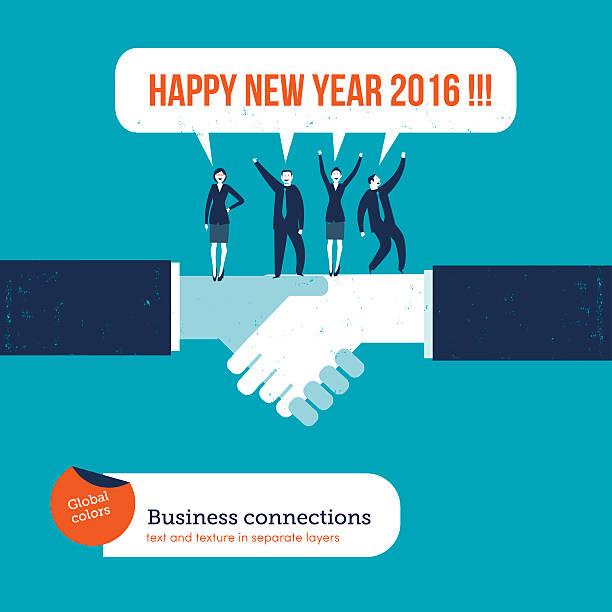 Handshake with businesspeople saying happy new year 2016 vector art illustration