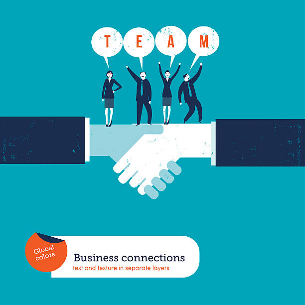 Handshake with businesspeople saying team. vector art illustration