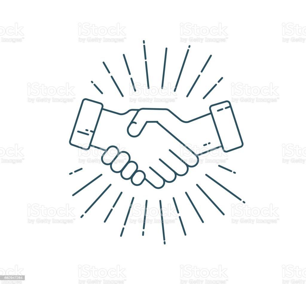 Handshake mit Sunburst. – Vektorgrafik