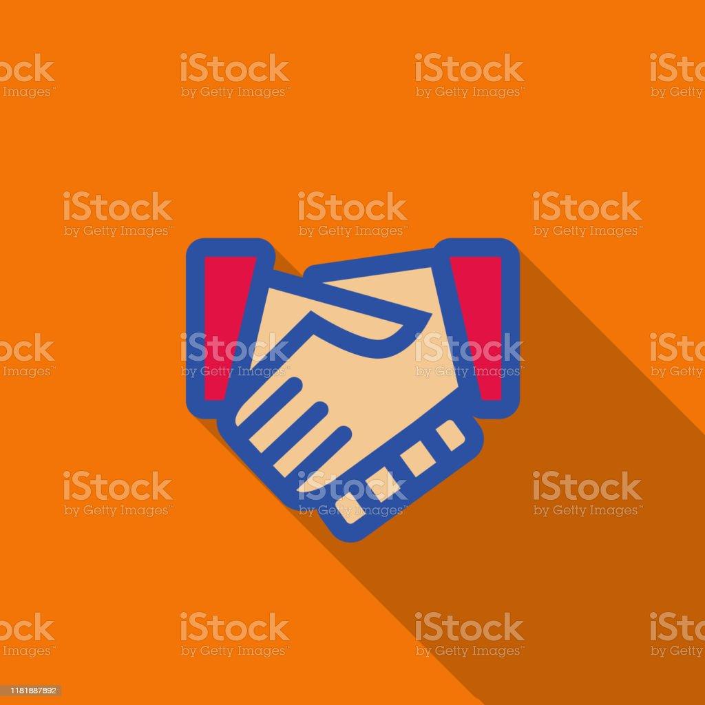 Turuncu arka plan üzerinde handshake - illüstrasyon - - Royalty-free Adamlar Vector Art