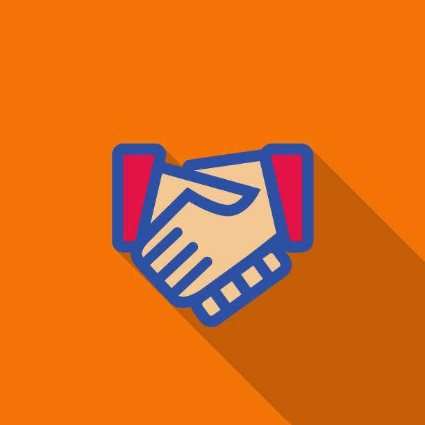 Turuncu arka plan üzerinde handshake - illüstrasyon - vektör sanat illüstrasyonu