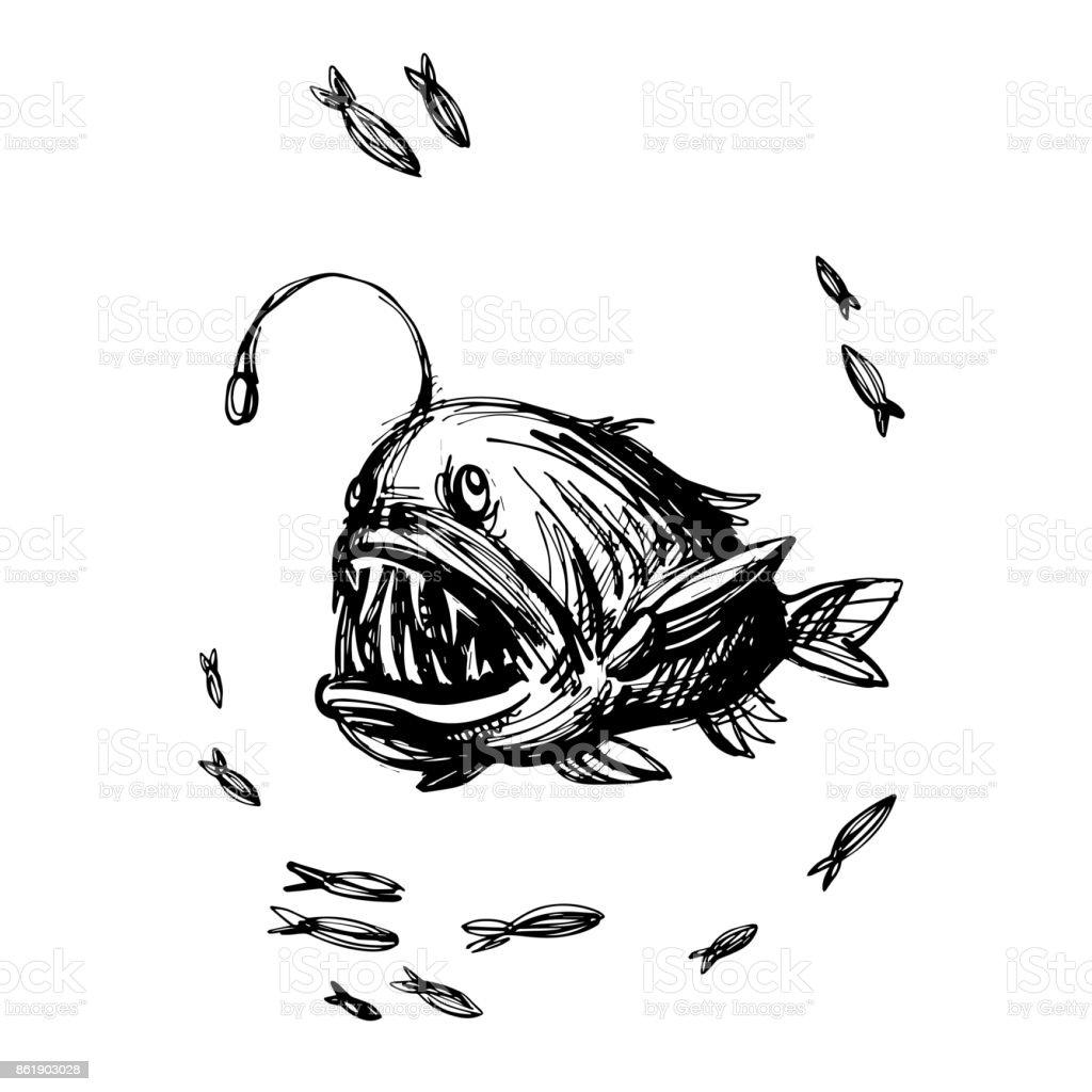 Handsketched angler fish vector illustration vector art illustration