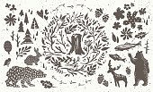 Handsketched elements of northern forest