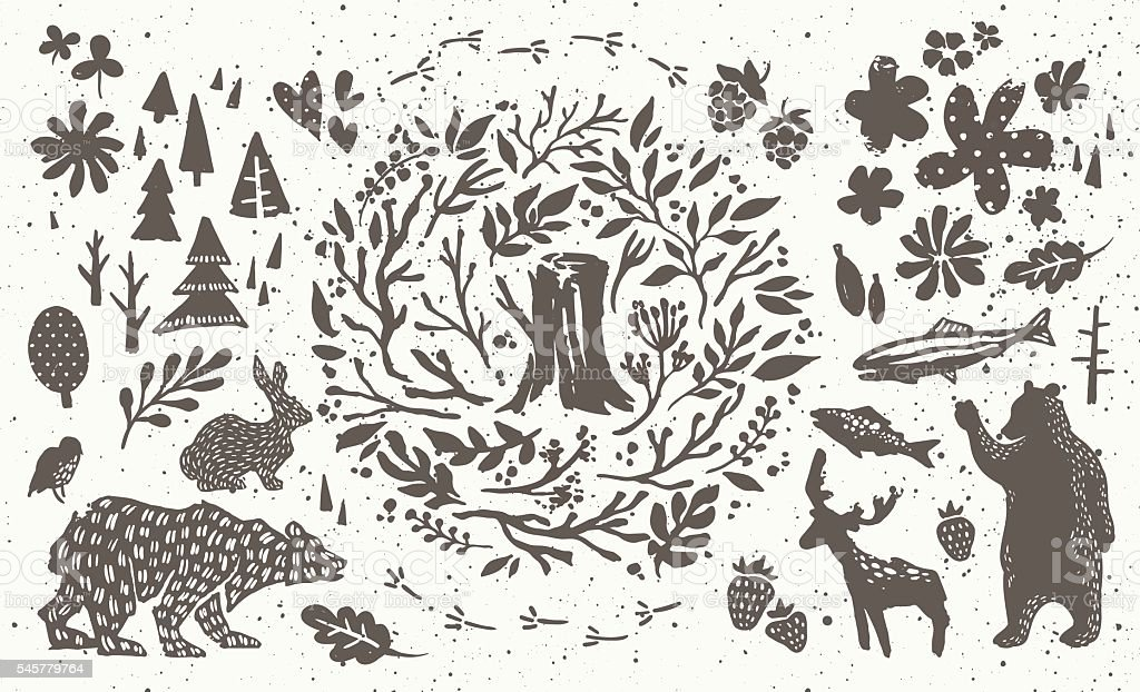 Handsketched elements of northern forest vector art illustration