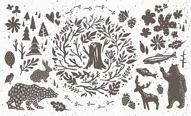 stockillustraties, clipart, cartoons en iconen met handsketched elements of northern forest - vogel herfst