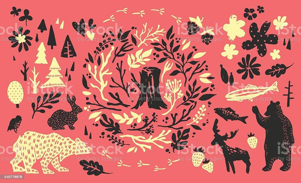 Handsketched elements of northern forest vector art illustration