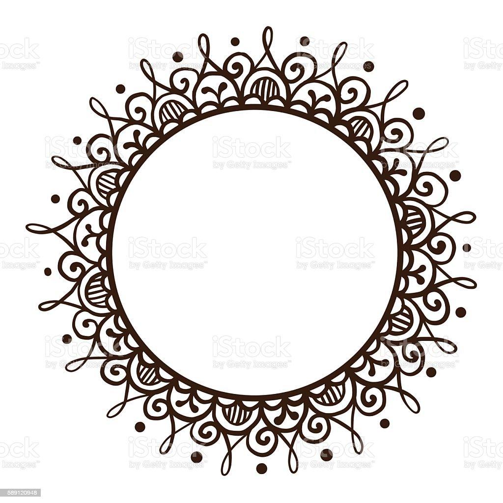 Handsketched mehndi frame - ilustração de arte em vetor