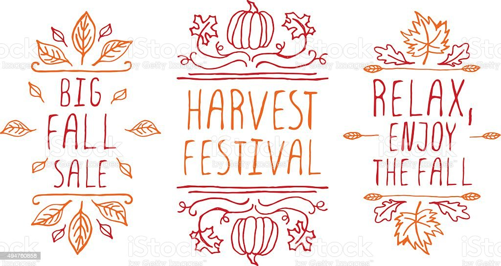 Hand-sketched typographic elements for autumn design vector art illustration