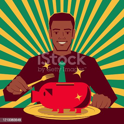 istock Handsome African-American ethnicity businessman is ready to use the fork to eat a big piggy bank on the plate 1213383549