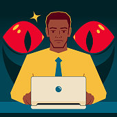 General Data Protection Concept Vector Art Illustration. Handsome African-American ethnicity businessman uses laptop, big evil eyes behind him is peeking at its monitor, GDPR concept.