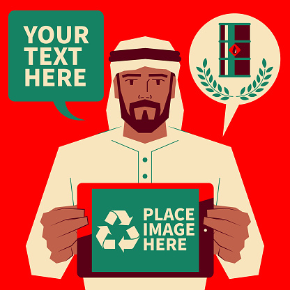 Handsome Arab man (IEA, OPEC, AREC) holding a digital tablet and showing renewable energy in the Arab world