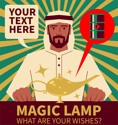 """Handsome arabian man (businessman) wearing traditional clothes (Turban) (IEA, OPEC, AREC) and his magic lamp, oil is the """"lamp"""""""