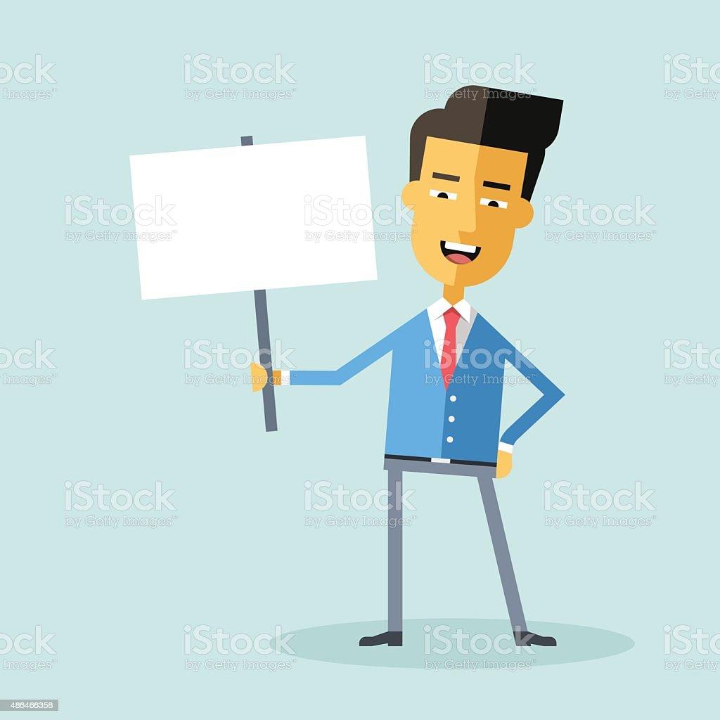 Bonito gerente asiática, segurando um cartaz. Personagem de desenho. - ilustração de arte em vetor