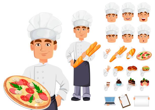 illustrations, cliparts, dessins animés et icônes de beau baker en uniforme professionnel - boulanger