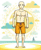Handsome bald man posing on tropical beach in colorful shorts. Vector character. Summer holidays theme.