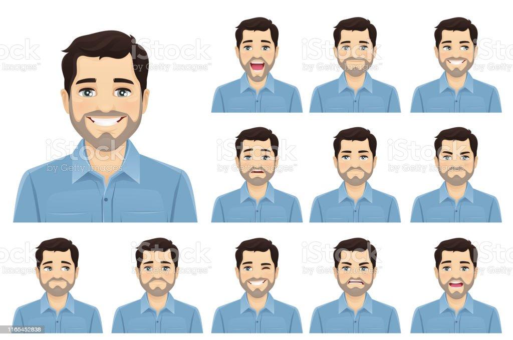Schöne bärtige Mann Ausdruck set - Lizenzfrei Angst Vektorgrafik