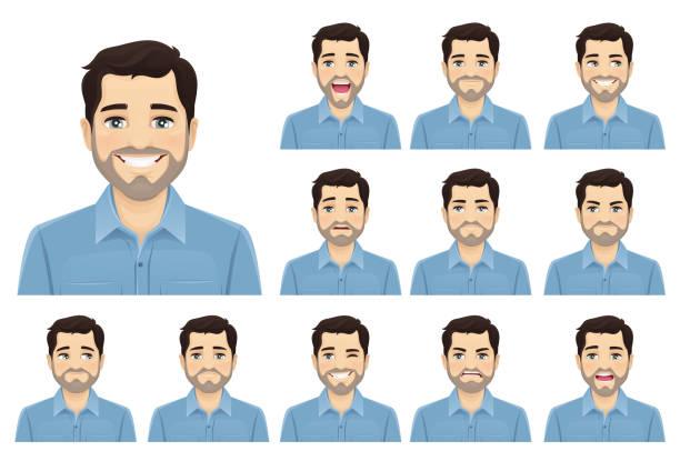przystojny brodaty zestaw ekspresji mężczyzny - grupa przedmiotów stock illustrations