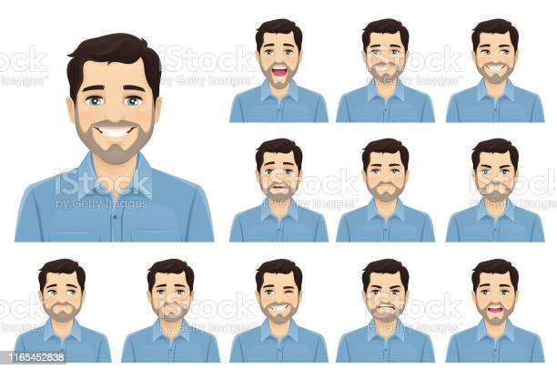 Schöne Bärtige Mann Ausdruck Set Stock Vektor Art und mehr Bilder von Angst