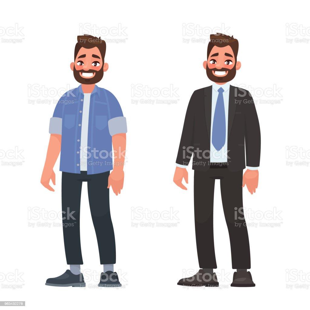 Beau barbu homme vêtements casual et d'affaires. Personne vêtue d'une chemise et de jeans et d'un strict costume - clipart vectoriel de A la mode libre de droits