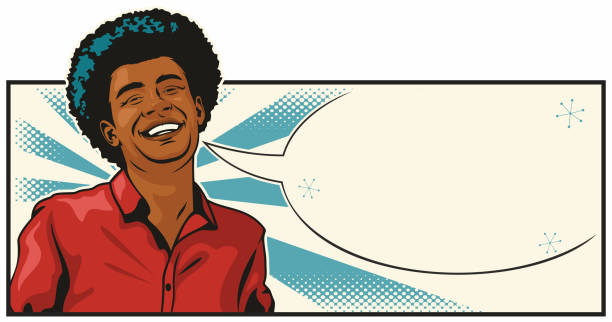 Handsome Black Man Laughing vector art illustration