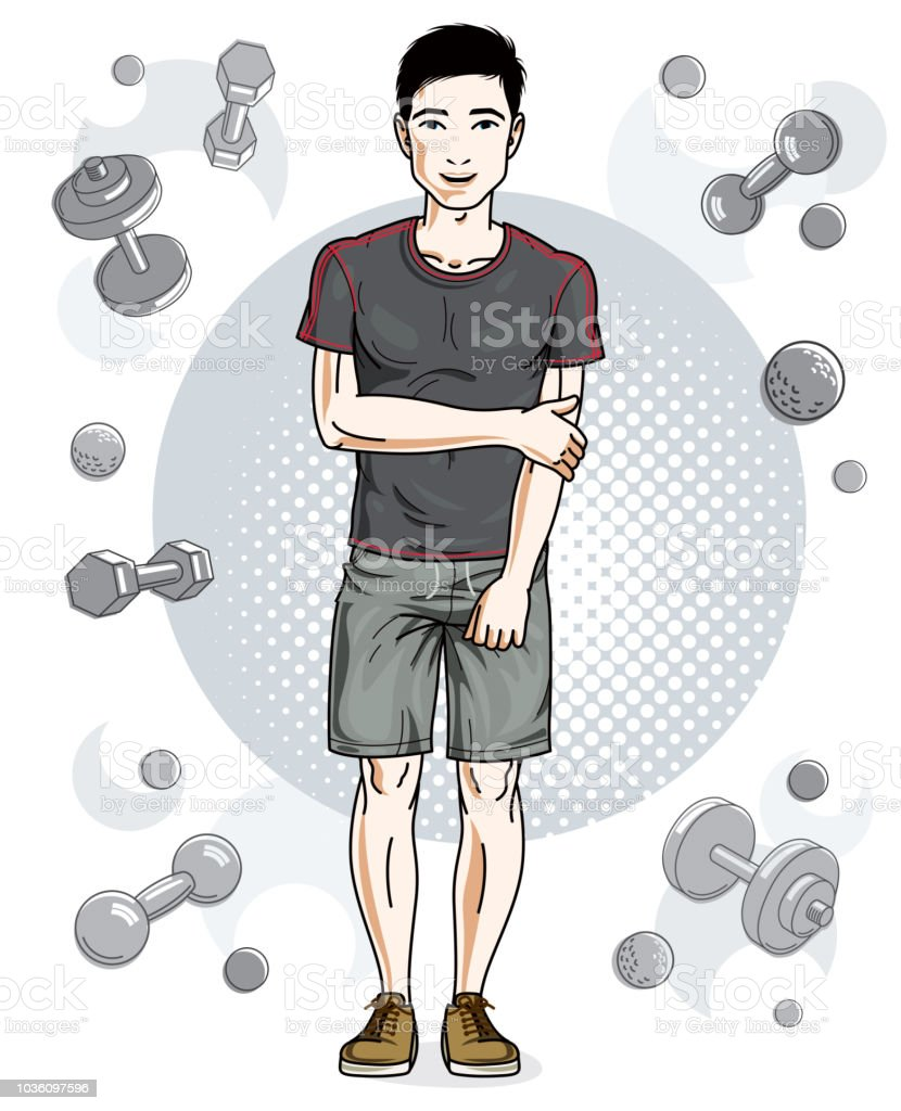 Handsome brunet young man is standing on simple background with dumbbells and barbells. Vector illustration of sportsman.  Active and healthy lifestyle theme cartoon. vector art illustration